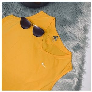 Yellow Nike Athletic Muscle Tank Top Size M